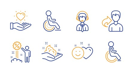 Share, Discount and Shipping support line icons set. Smile, Hold heart and Disability signs. Skin care, Disabled symbols. Male user, Sale shopping. People set. Line share icon. Vector