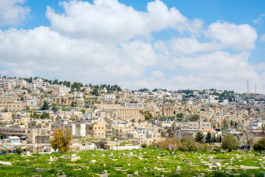 Muslim cemetery and old town, Hebron (al-Khalil), West Bank, Palestine