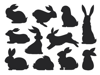 Bunny pet silhouette in different poses. Hare and rabbit collection. Vector set of cute rabbits in cartoon style.