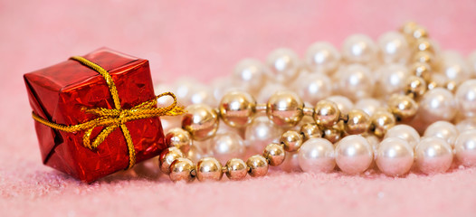 Christmas shopping concept, white and gold pearl necklace jewelry gifts for females, web banner