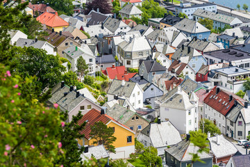 Roofs of Art Nouveau buildings from above, Alesund, Norway