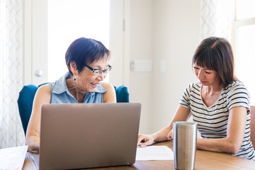 Daughter Helping Mother With Computer Work at Home