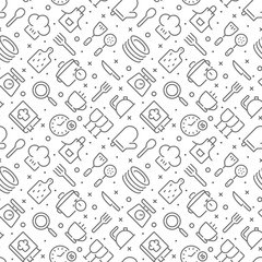 Custom vertical slats with your photo Cooking and kitchen related seamless pattern with outline icons