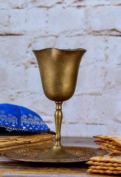 Jewish pesah celebration concept jewish holiday Passover Kiddush Cup