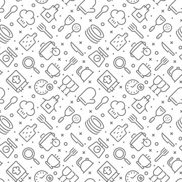 Cooking and kitchen related seamless pattern with outline icons