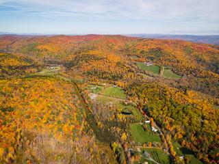 Fall foliage seen from the air near Quechee, Vermont.