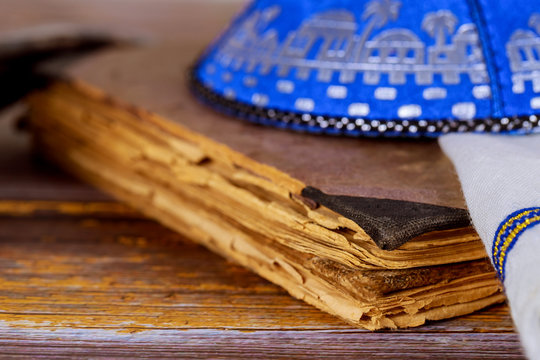 Jewish traditional objects, yarmulke, Tallit, Prayer book