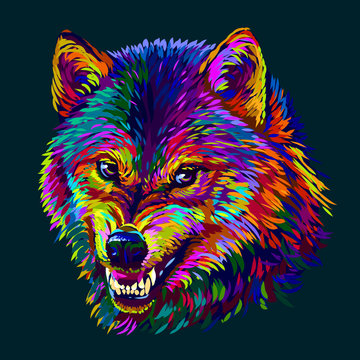 Angry wolf. Abstract, colorful, neon portrait of a wolf's head on a dark blue background in pop art style.