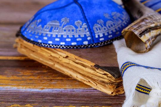 Prayer book, Kippah and Shofar horn jewish religious symbol