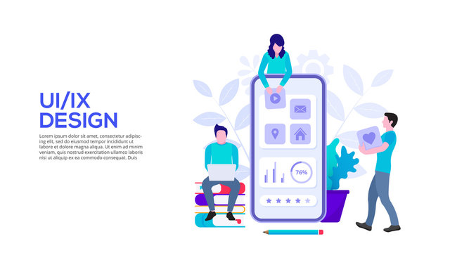 UI design concept with smartphone and people. Flat vector illustration. Landing page template for web.