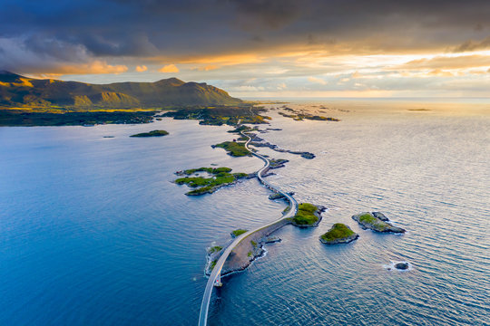 Aerial view of the Atlantic Road during sunset, More og Romsdal county