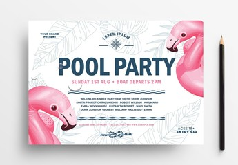 Pool Party Event Flyer Layout with Flamingo Illustrations