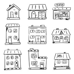Hand drawn houses icon set. Simple outlined residential buildings, sketch. Black and white symbols isolated on white background.