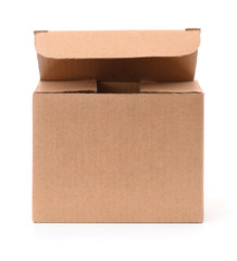 Front view of open small cardboard box