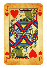 Jack of Hearts Vintage playing card - isolated on white (clipping path included)