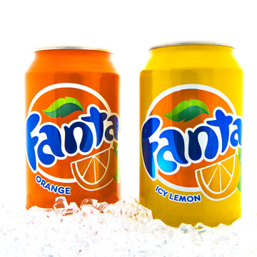 Two Cans of Fanta drink on a white background