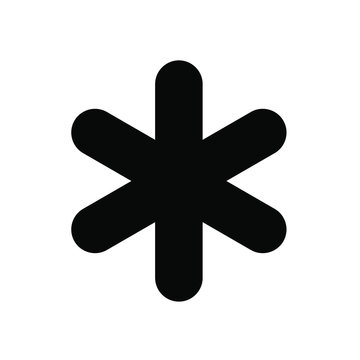 asterisk icon, black on white background, vector image.