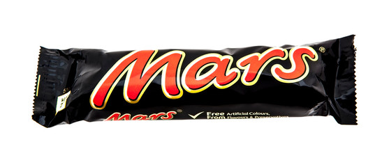 Mars Bar on White Background