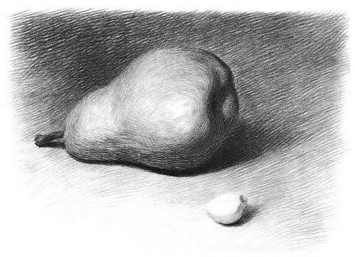 Children 's educational drawing of pears and garlic slices