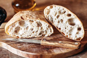 Tuinposter Brood Homemade Rustic Artisan Bread Or Italian Ciabatta
