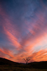Foto auf Leinwand Ziegel Illuminated clouds in a beautiful sunset in the highland region of Rio de Janeiro, Brazil.