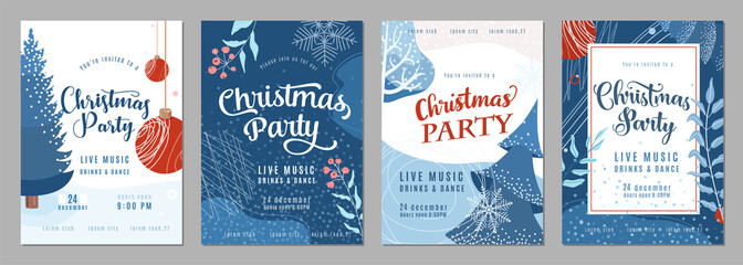 Christmas party invitation poster background in trendy flat style