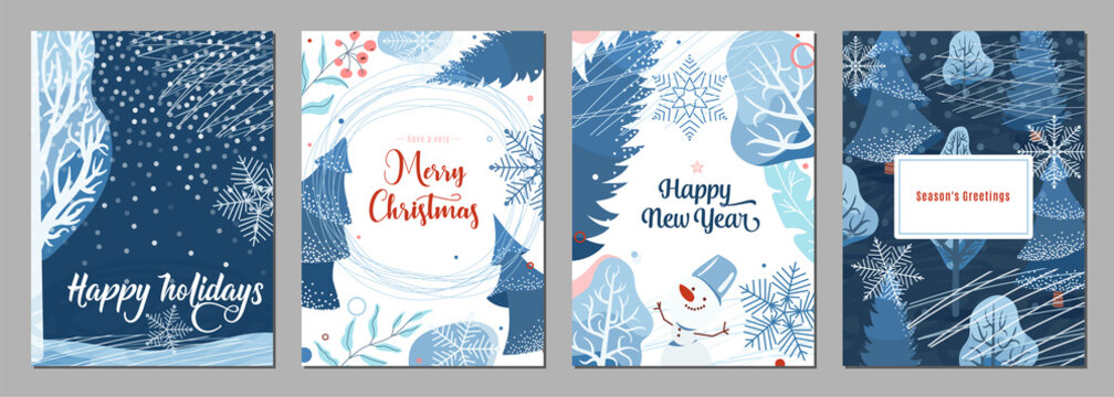 Winter poster background. Season holiday greetings set with snow, fir tree, berry, snowflakes, snowman and other graphic design elements. Creative modern flat christmas and new year card