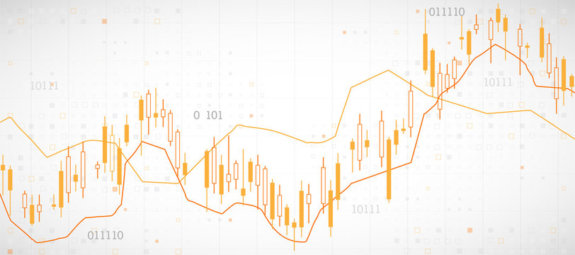 Financial trade concept. Stock market and exchange. Candle stick graph chart.