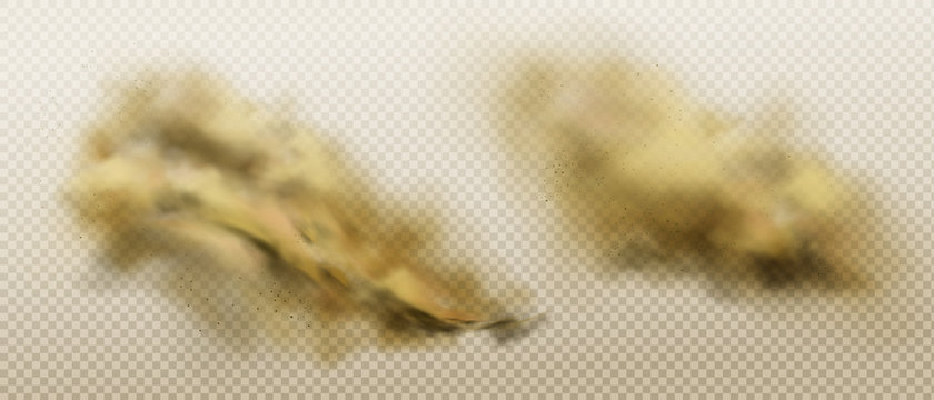 Brown dust clouds of flying sand and soil. Grunge texture of dirty smog or sandstorm isolated on transparent background. Vector realistic splash of powde and stones under the wheels of driving car