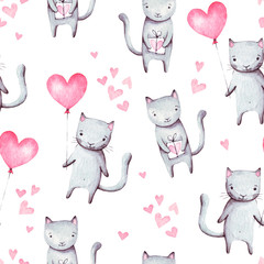 Cute cartoon cats with pink balloon heart shape and gift. Hand drawn abstract watercolor seamless pattern. Valentine's day background. It can be used for wallpaper, fabric design, textile design.