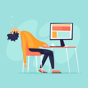 Fatigue, office worker fell asleep at the computer, a lot of work, stress. Flat design vector illustration.