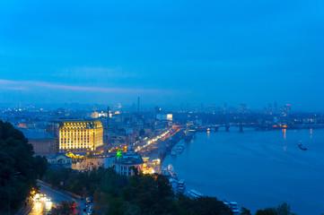 Fototapete - Skyline Kyiv Podol river Dnipro