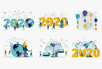 People celebrate the new year 2020. Metaphor of carporative celebrations. Office workers celebrate the holiday