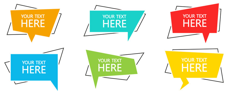Geometric banner with text set. Vector