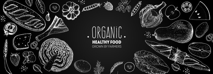 Healthy food vector illustration. Hand drawn sketch. Organic products set. Farm market food collection.