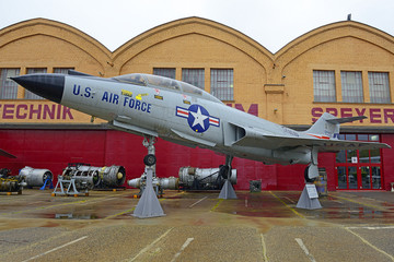Technik Museum Speyer - U.S. Air  Force fighter McDonnell F-101 Voodoo. Museum pulls more than half a million visitors per year, Germany