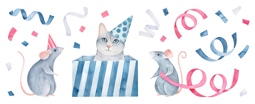 Cute little kitten and fancy mice wearing party cone hats. Hand drawn watercolour graphic painting on white, isolated clip art for design, print, poster, card, template. Pink, blue, white, gray color.