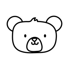 kids toy, cute teddy bear head icon thick line