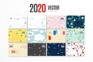 2020 calendar template. Vector colorful design with illustrations