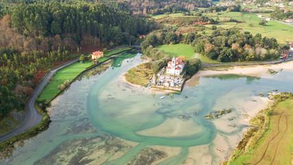 Foto auf Gartenposter Olivgrun aerial view of countryside cemetery in asturias, Spain