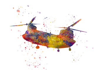 Helicopter Boeing CH-47 Chinook in watercolor