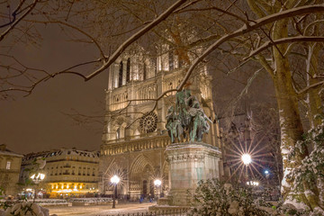 The Notre Dame cathedral in winter , Paris, France.