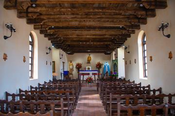 Altar inside church in Mission San Francisco de la Espada in San Antonio, Texas, USA. The Mission is a part of the San Antonio Missions UNESCO World Heritage Site.