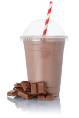 Milk shake chocolate milkshake in a cup isolated on white
