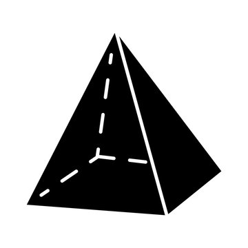 Pyramid glyph icon. Geometric figure. Decorative simple element. Geometry model. Abstract shape. Isometric form with triangular sides. Silhouette symbol. Negative space. Vector isolated illustration