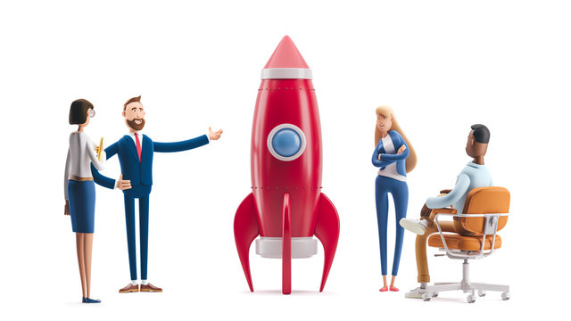 Team developing an innovative product. 3d illustration.  Cartoon characters. Successful startup rocket.