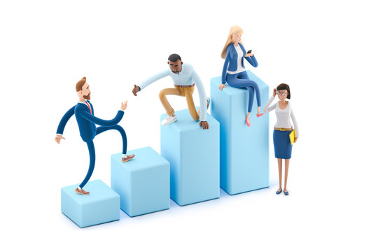 Career Ladder with Characters. 3d illustration.  Cartoon characters. Business teamwork concept.