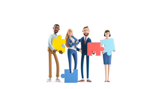 People connecting puzzle elements. 3d illustration.  Cartoon characters. Business teamwork concept on white background.