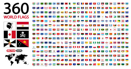 All official national flags of the world . circular design. 360 world flags with name