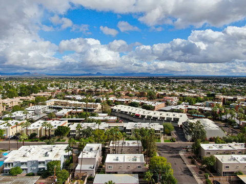 Aerial view of Scottsdale desert city in Arizona east of state capital Phoenix. Downtown's Old Town Scottsdale